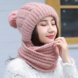 Women Thicken Siamese Knit Beanie Hat Scarf Winter Windproof Earmuffs Ski Cap