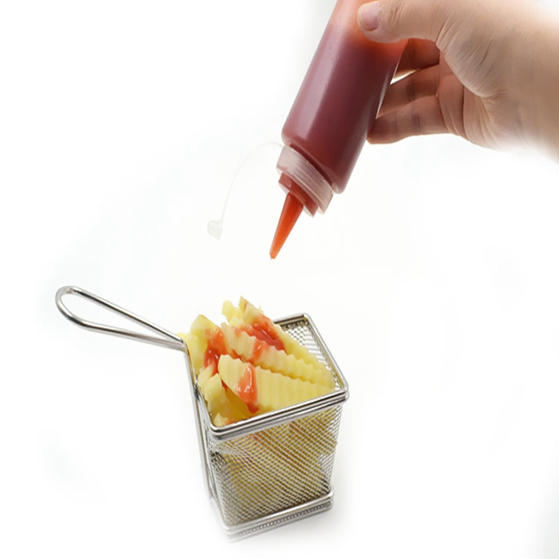 1/4/6/8X Clear Plastic Squeeze Sauce Ketchup Cruet Oil Bottles 8/12/16/24 oZ Flavouring Tool
