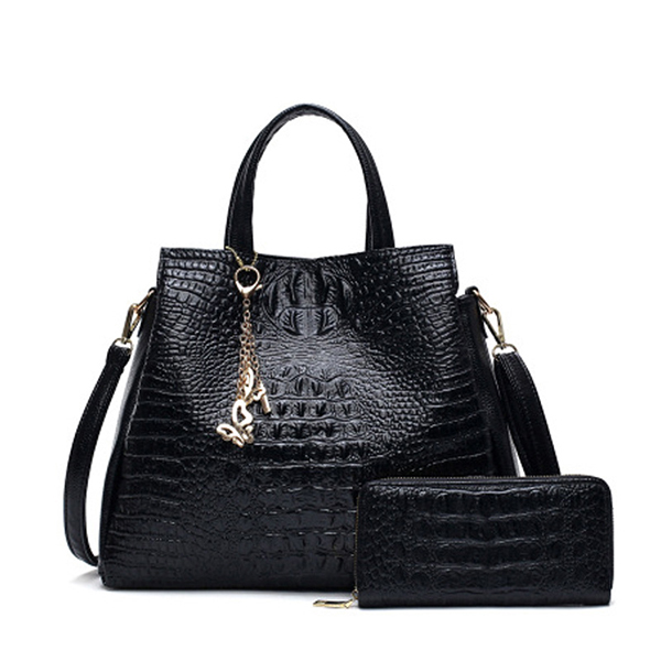 Women Fashion 2 PCS Crocodile Handbag Shoulder Bag Crossbody Bag Wallet Large Capacity