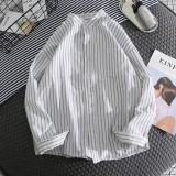 Mens Fashion Solid Color Cotton Stand Collar Stripe Long Sleeve Casual Shirts