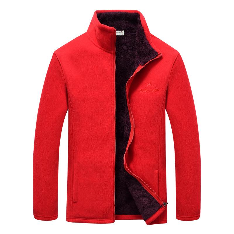 Mens Casual Winter Outdoor Fleece Thick Zipper Stand Collar Warm Jacket