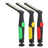 COB LED Work Hand Light Inspection Magnet Rechargeable Flashlight Folding Torch W/USB Cable