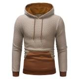 Mens Pullover Stitching Color Sport Drawstring Hoodies Sweatshirts
