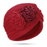 Women Polyester Ethnic Floral Turban Hat Outdoor Print Breathable Chemo Caps