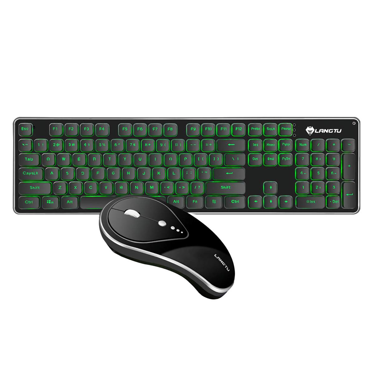 silent 2 4ghz wireless backlit keyboard and mouse combo set for desktop computer laptops. Black Bedroom Furniture Sets. Home Design Ideas