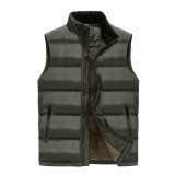 Mens Casual Thick Warm Fleece Stand Collar Solid Color Outdoor Vest