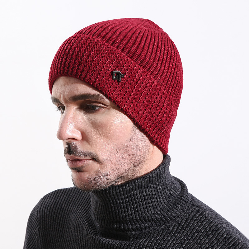 Mens Vintage Warm Thickened Double Layers Knitted Hat Sports Casual Beanie Cap