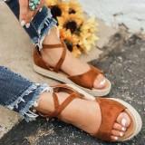 Big Size Flat Thick Bottom Roman Zipper Sandals