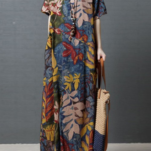 UK Womens Long Sleeve Crew Neck Floral Dresses Vintage Casual Loose Maxi Dress