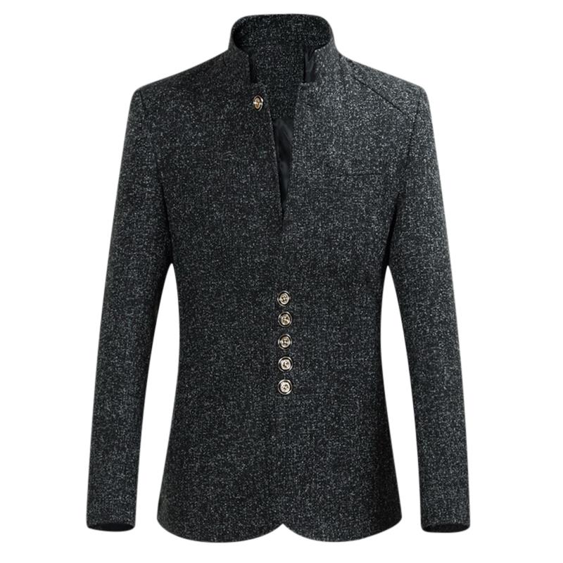 Mens Plus Size Thickened Warm Stand Collar Stylish Blazer Jacket
