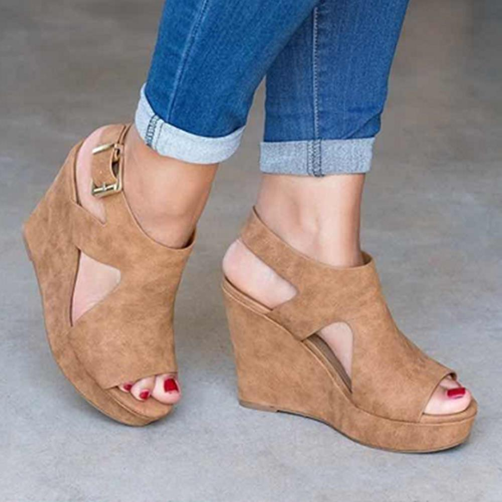 Women Platform Shoes Wedge Heels Sandals Peeps Comfortable Sandals