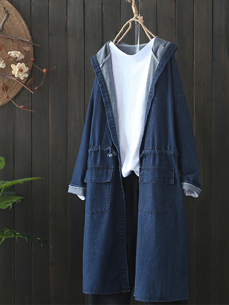 Casual Women Drawstring Long Sleeve Hooded Denim Coats with Pockets
