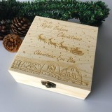 Christmas Eve Box Engraved Wooden Decorations Wood Gift Xmas Childrens Wooden Christmas Eve Box