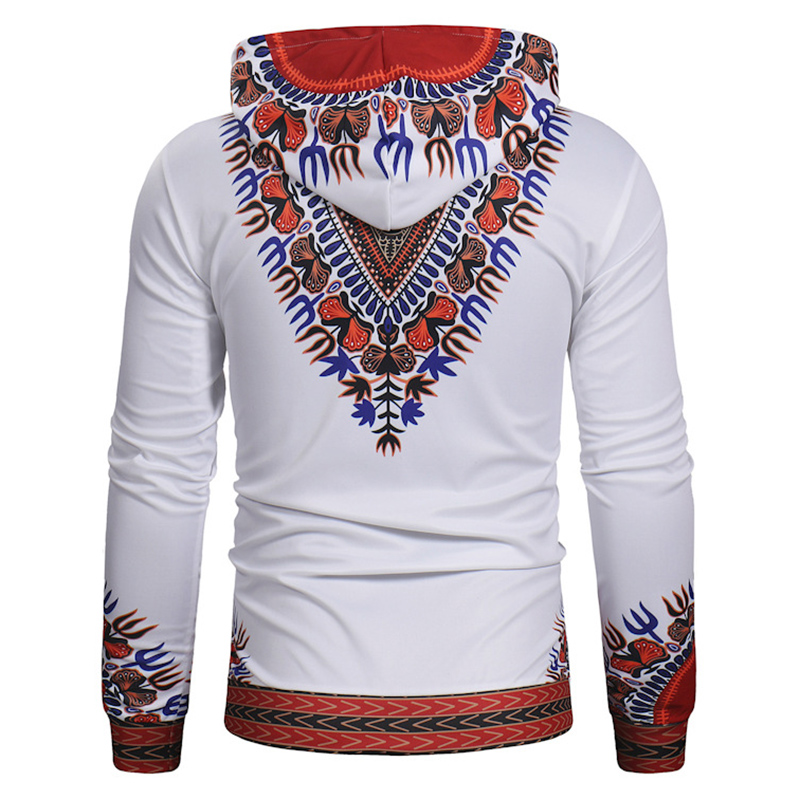 Ethnic Style Men Casual Drawstring Printed Hooded Tops Slim Cotton National Hoodies Sweatshirts