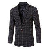 Business Casual Plaids Gentleman British Style Slim Turn-down Blazers Suits For Men