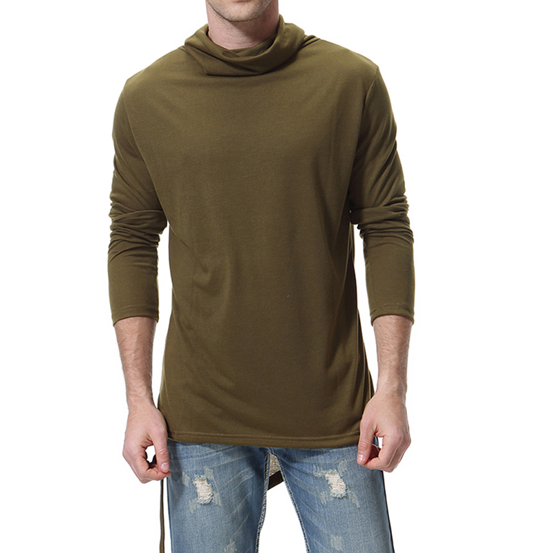Mens Casual High Collar Irregular Hem Long Sleeve Solid Color Slim T-Shirts