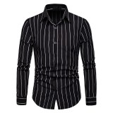 Mens Casual Striped Long Sleeve Loose Fit Turn Down Collar Shirts