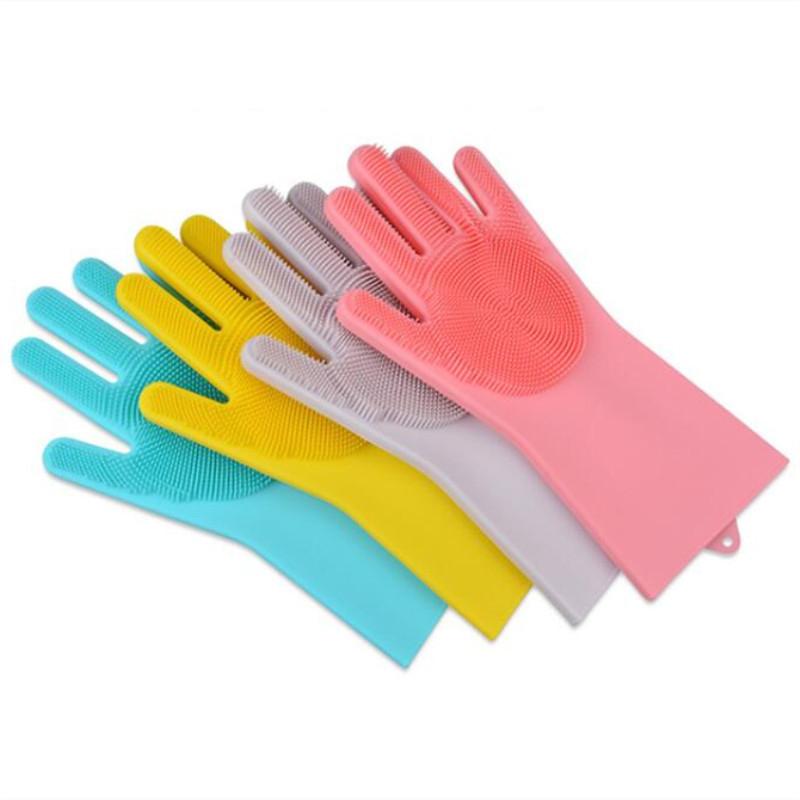 Silicone Dishwashing Glove Kitchen Cleaning Glove Convenient Brush Glove Quick to Clean Plates