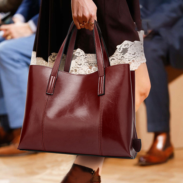 Women PU Leather Casual Handbag Large Capacity Tote Bag Solid Crossbody Bag