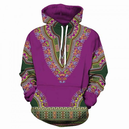 Men's Fashion 3D Printing African Style Hoodies Long Sleeve Drawstring Casual Pocket Sweatshirts