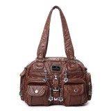Angel Kiss Women Soft Leather Multi-Pocket Motorcycle Bag Shoulder Bag Crossbody Bag Handbag