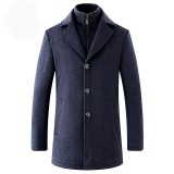 Mens Detachable Two-piece Fit Stand Collar Jacket Winter Warm Thick Woolen Trench Coat