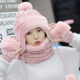 Winter Women Thicken Plus Velvet Knit Beanie Hat Scarf with Gloves Windproof Earmuffs Cap Suit