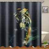 72″X72″ Wildlife Animal Nature Decor Tiger Bathroom Decor Shower Curtain with Plastic Shower Hooks