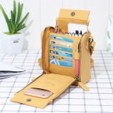 Brenice Women Solid Multifunctional Bag Phone Bag 6 Card Holder Crossbody Bag