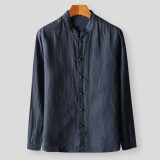 Mens Cotton Vintage Chinese Style Long Sleeve Solid Color Loose Casual Shirts