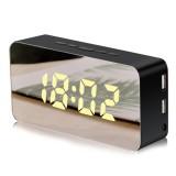 Loskii Mirror Alarm Clock USB Charging Snooze Voice Control Makeup Mirror LED Color Clock