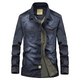Mens Plus Size Casual Cotton Chest Pockets Long Sleeve Denim Shirts