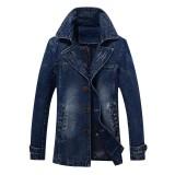 Mens Mid-long Denim Turn Down Collar Stylish Casual Business Windreaker Jacket