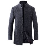 Mens Mid-long Stand Collar Winter Warm Thick Woolen Coats