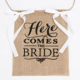 Here Comes the Bride Wedding Banner Party Burlap Bunting Garland Photo Booth Decorations