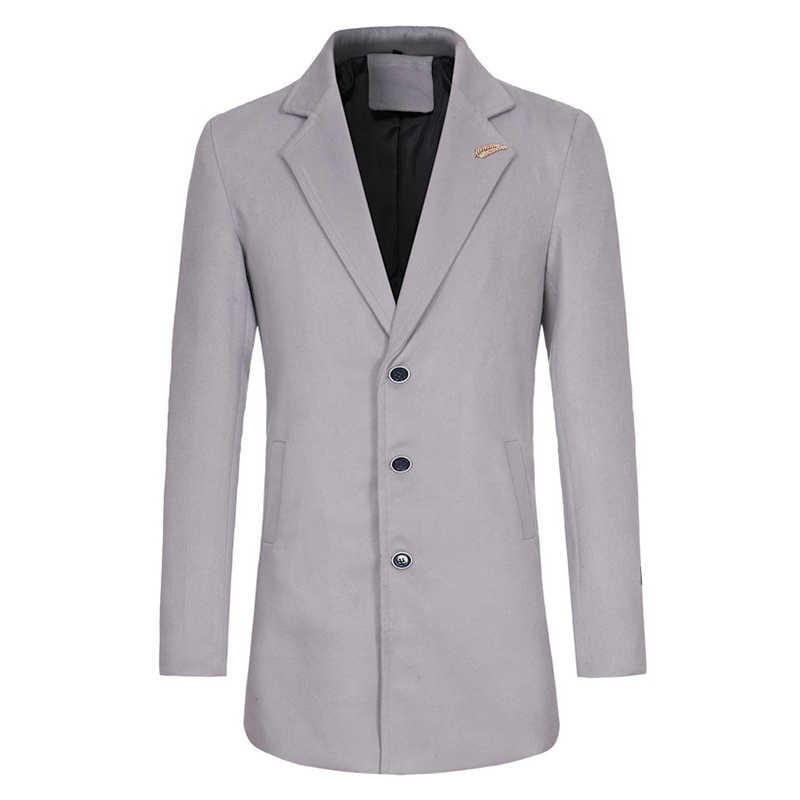 Mens Cotton Solid Color Mid Long Slim Fit Business Casual Trench Coat