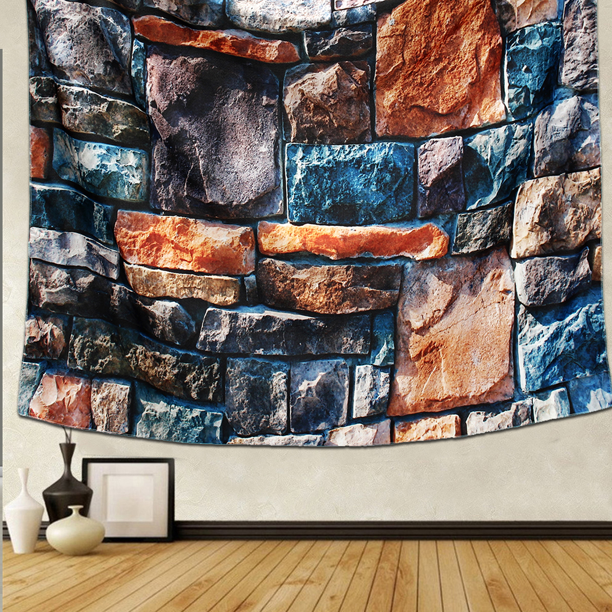 New 3D Stone Brick Decorative Tapestry Wall Hanging Living Room Decor Bedspread