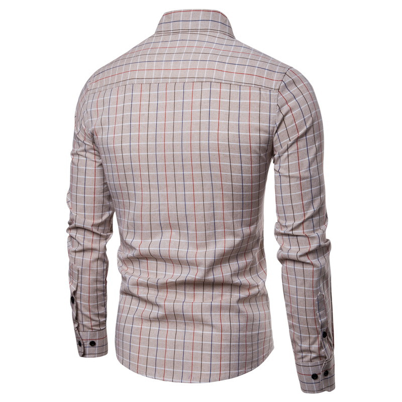 Mens Casual Business Plaid Buttons Turndown Collar Long Sleeve Shirts