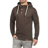 Men's Fashion Button Design Long Sleeve Solid Color Hooded Casual Overhead Sweatshirt