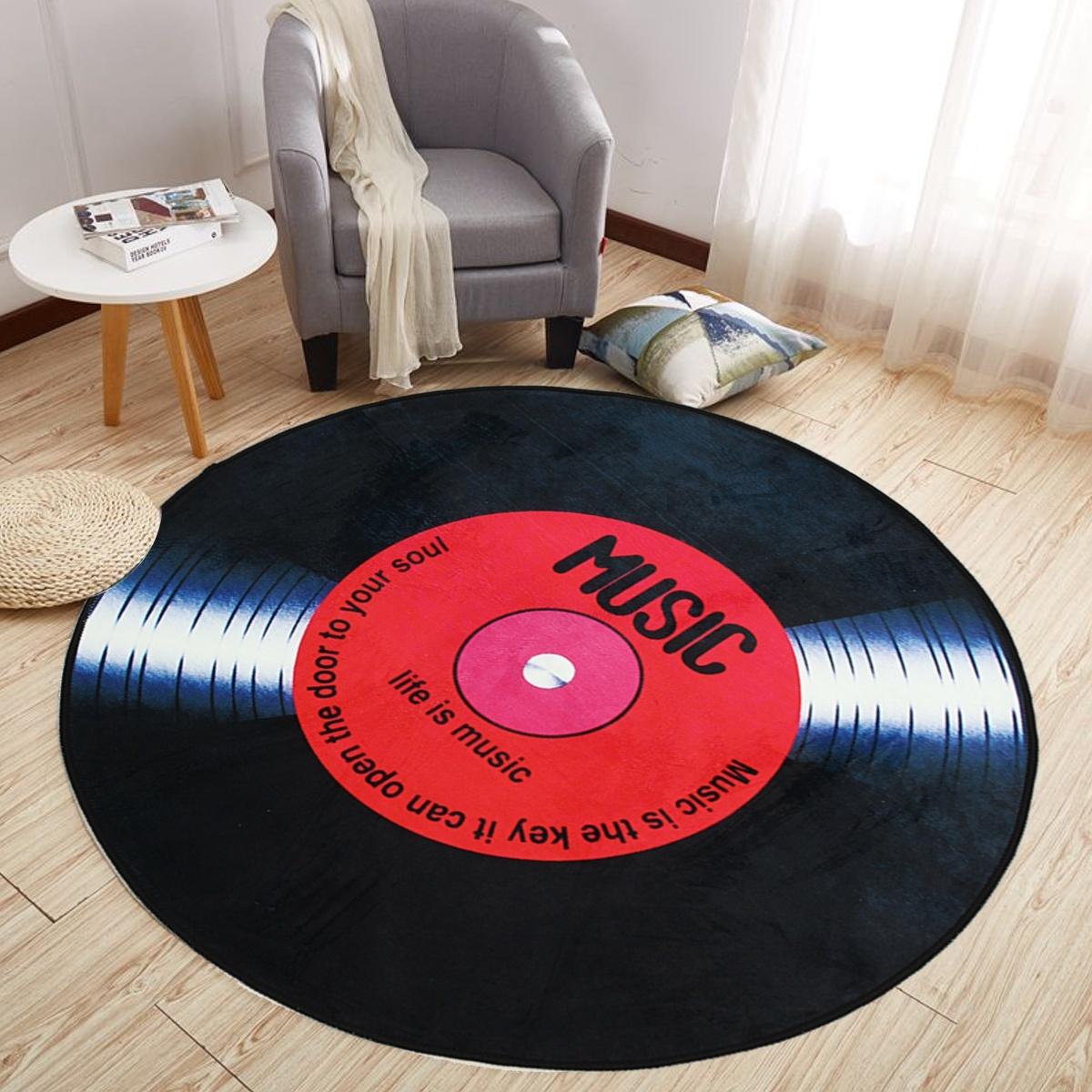 Non Slip Retro Round Record Coaster Printing Soft Floor