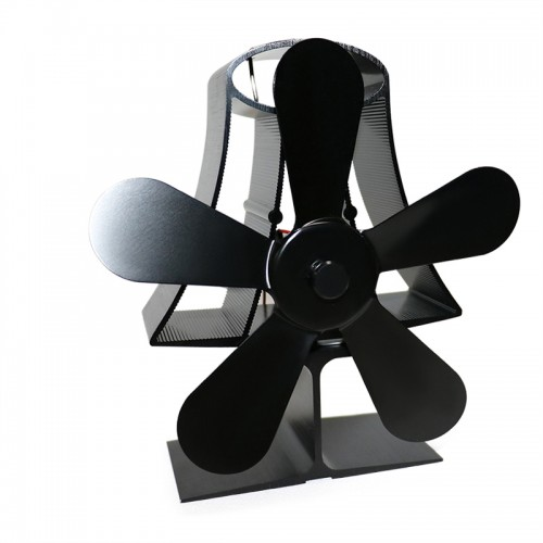 5 Blade Heat Self-Powered Wood Stove Fan Burner Fireplace Silent Ecofan
