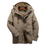 Mens Winter Windproof Multi Pockets Zipper Thick Loose Comfy Warm Outdoor Jacket