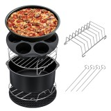 7PCS Air Fryer Accessories Set Chips Baking Basket Pizza Pan Home Kitchen Tool