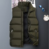 Mens Down Cotton Padded Stand Collar Solid Color Casual Thick Vest Coats