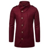 Mens Mid Long Winter Coat Stylish Slim Fit Jacket