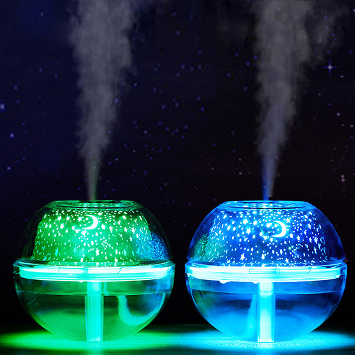 500ML 7 Color Crystal LED Light Projector Air Humidifier USB Essential Diffuser Aromatherapy Purifier