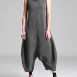 M-5XL Women Cotton Sleeveless Baggy Overalls Jumpsuit
