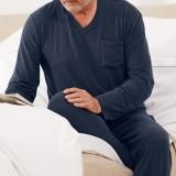 Mens Casual Home Pure Color Pocket Autumn Modal Sleepwear Pajama Set