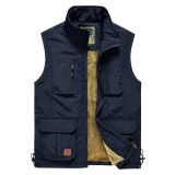 Mens Fleece Lining Thickened Warm Multi Pockets Solid Color Sleeveless Outdoor Vest