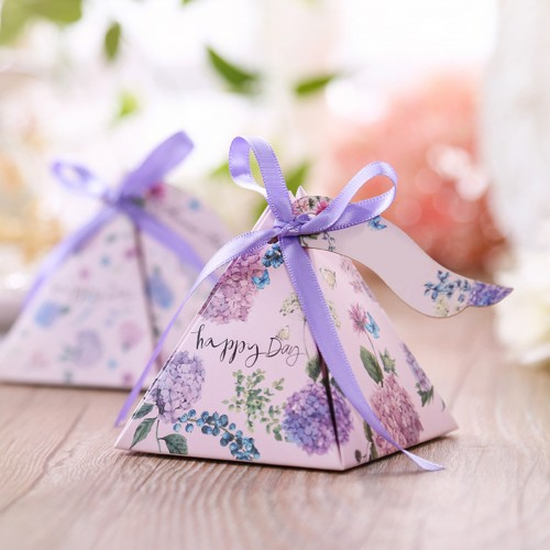 50PCS Spring Flower Candy Boxes Paper Wedding Party Decorations Favour Sweet Boxes Bags Ribbons Tags